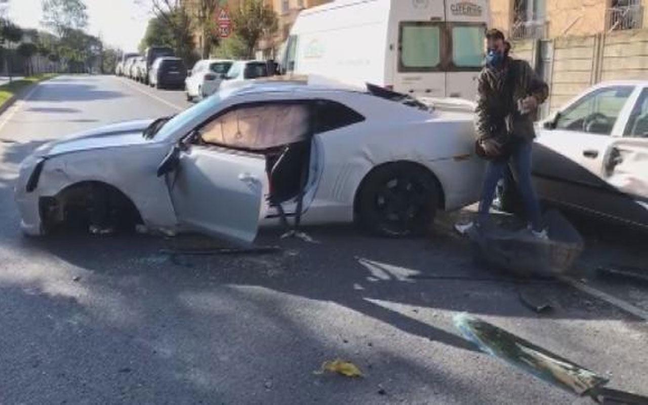 Sosyal medya fenomeni Enes Batur kaza yaptı!  Lüks otomobili paramparça oldu