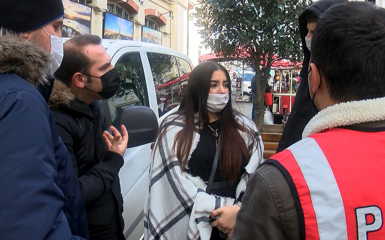 İstanbul Taksim'de kadın turist polislere zor anlar yaşattı