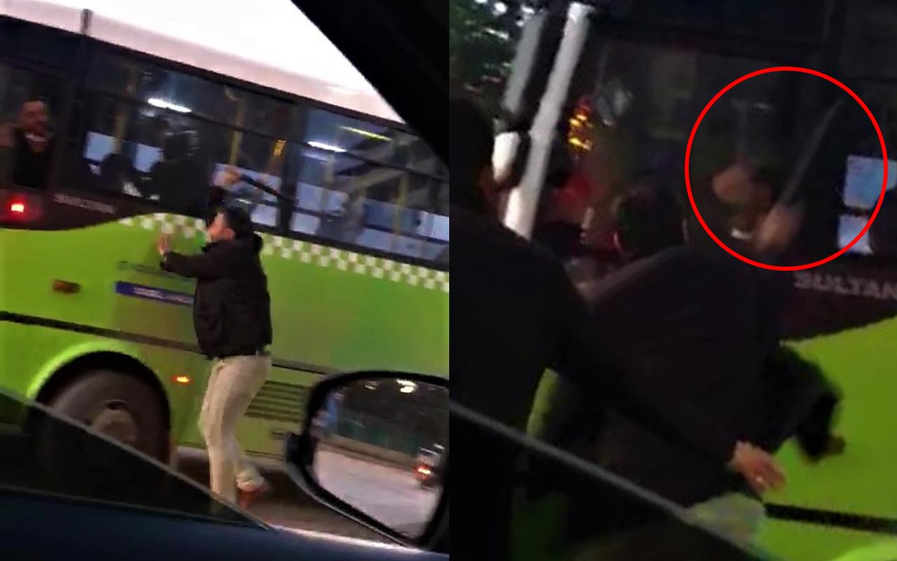 Kocaeli'de öfkeli şoför sinirine hakim olamadı! Otobüs şoförüne copla saldırdı