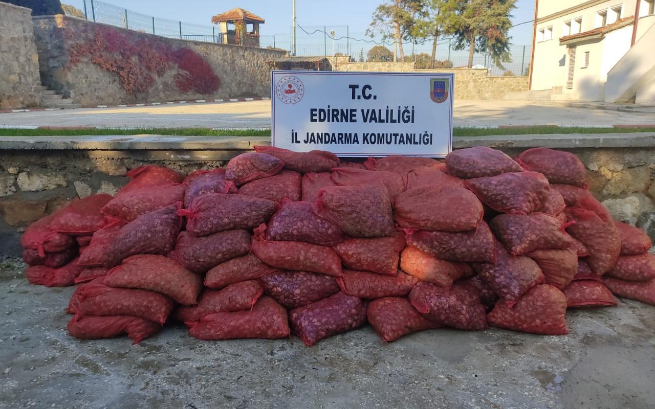 Edirne'de 131 çuval içerisinde ele geçirildi! Değeri 600 bin TL