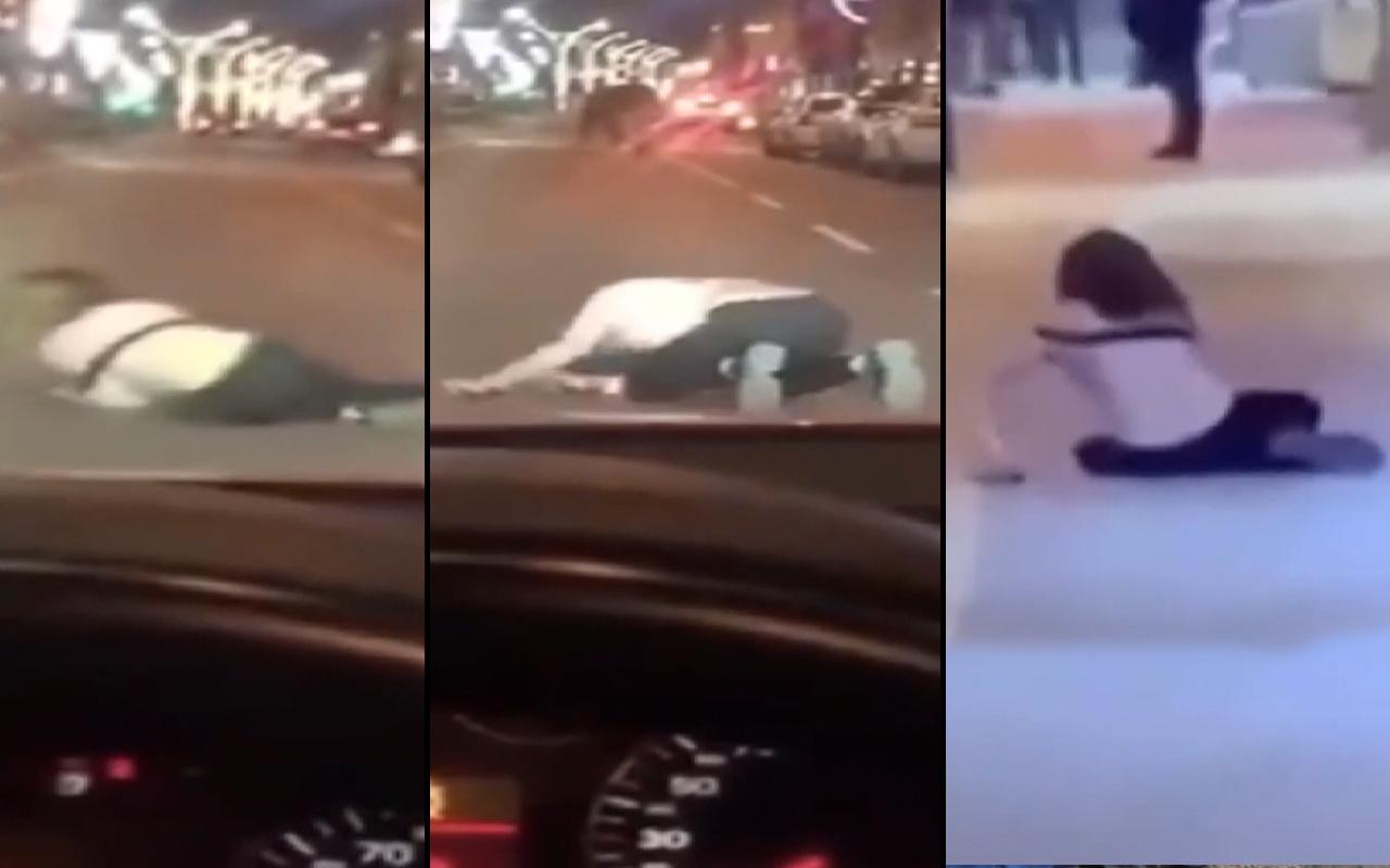 Van'da trafikte şok eden görüntü! Genç kadın defalarca aynı şeyi yaptı
