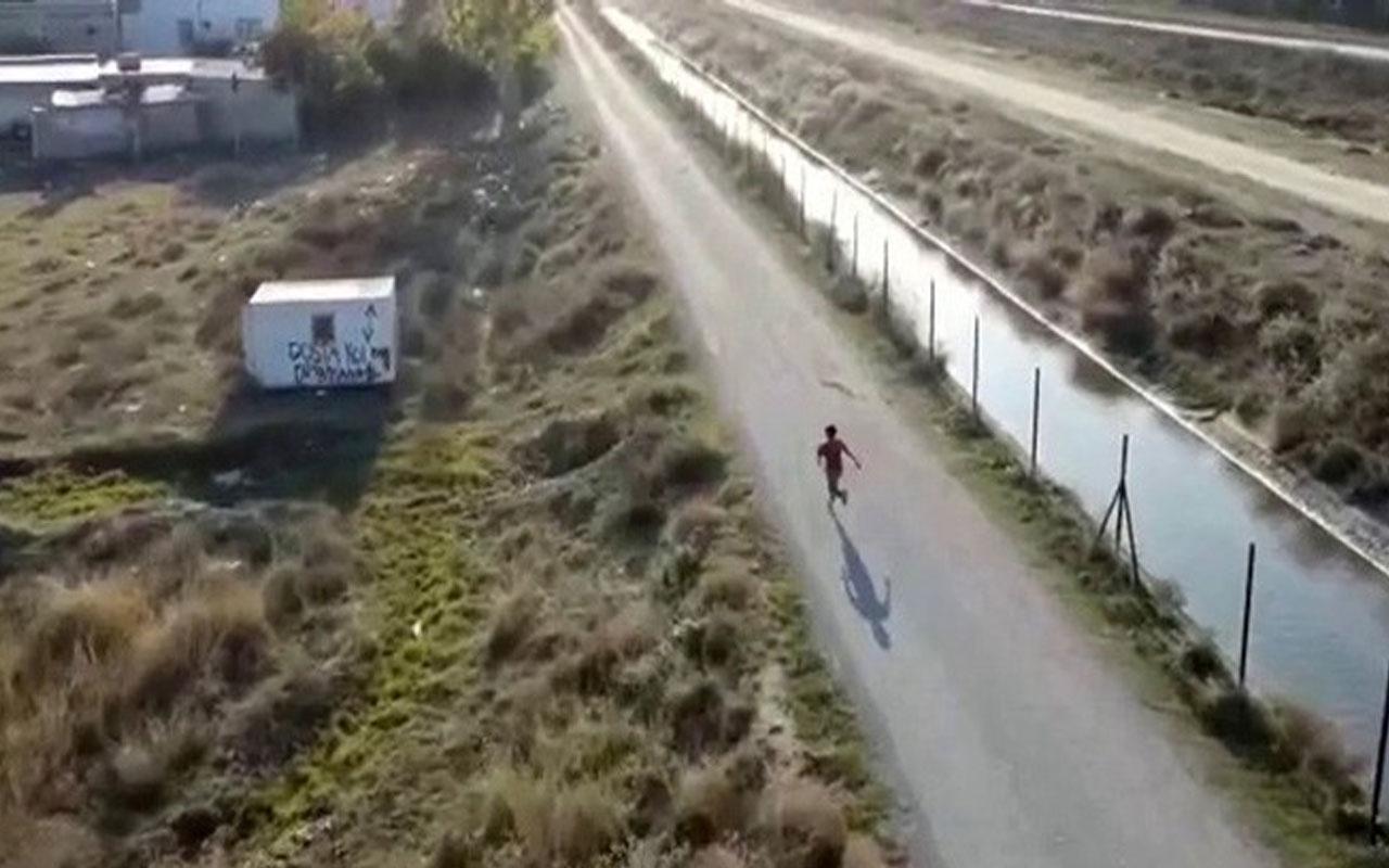 Mersin'de kaydedildi! İlk defa gördüğü drone'dan kaçmaya çalıştı