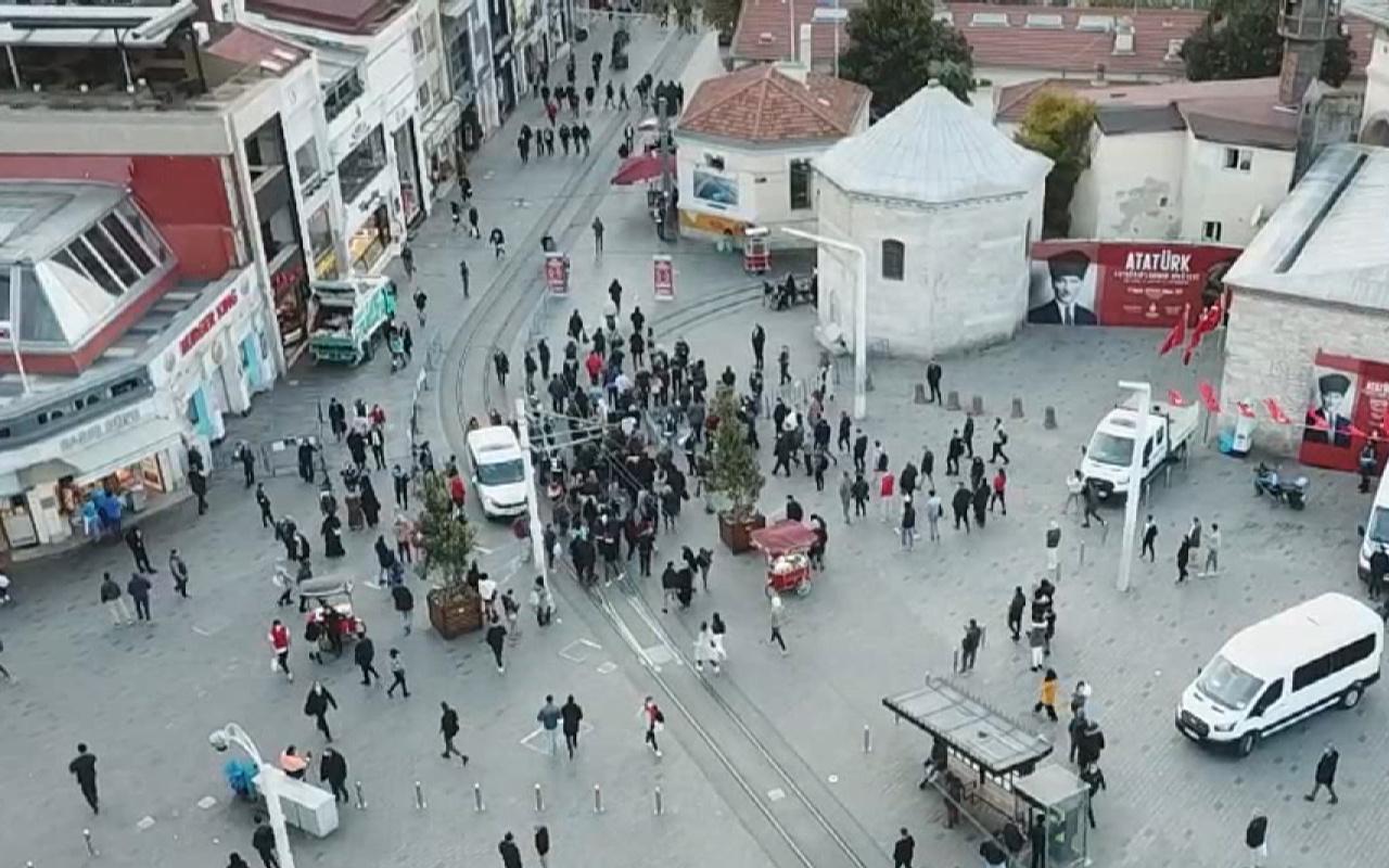 Beyoğlu'nda İstiklal Caddesi'ne girişler kapatıldı! Yoğunluk oluştu
