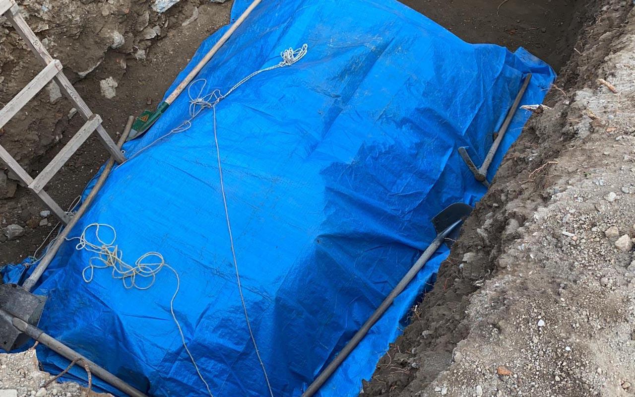 Kazıda ortaya çıktı üzerini örttüler İznik'te inşaat işçileri şaşkına döndü