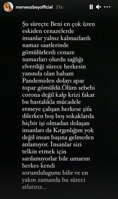 Merve Özbey 'kırgınım' deyip isyanını dile getirdi babası hayatını kaybetmişti
