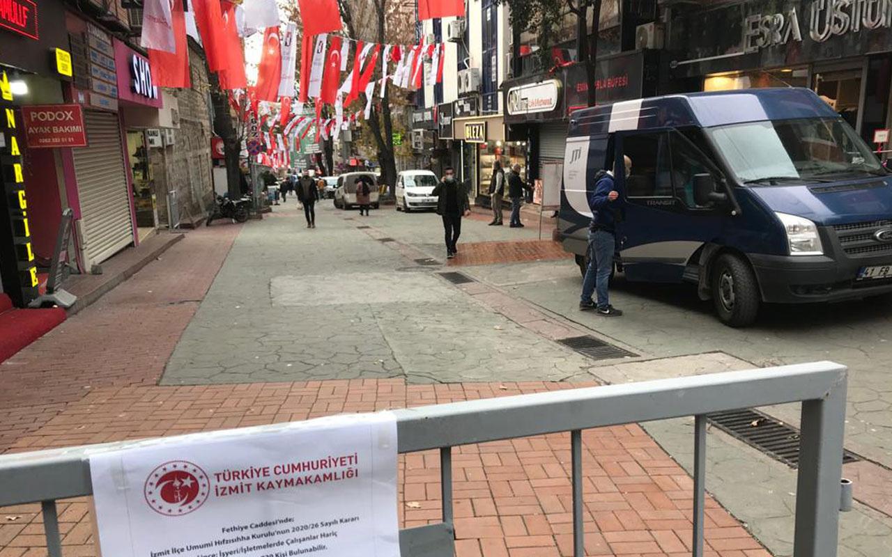 İzmit'te 2 caddeye kişi sınırlaması getirildi