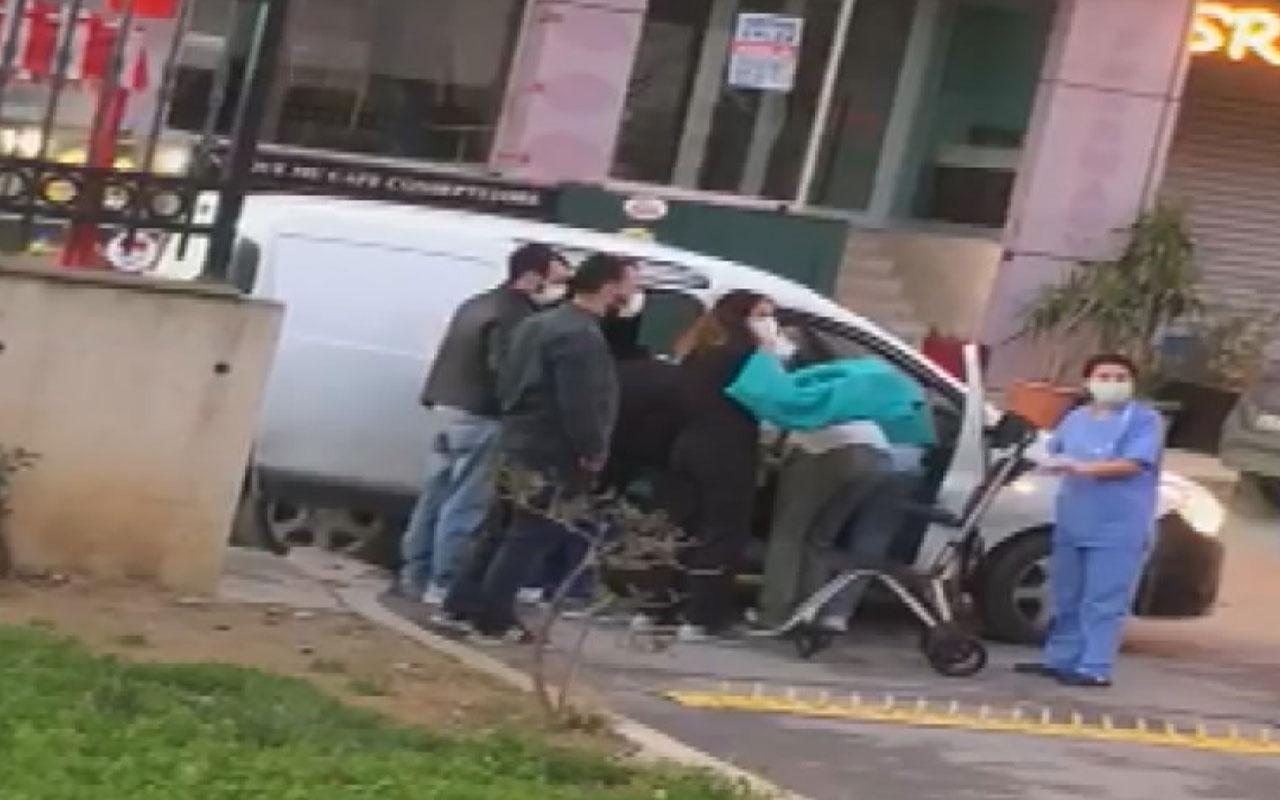 Sancaktepe'de hamile kadın hastane kapısında araçta doğum yaptı
