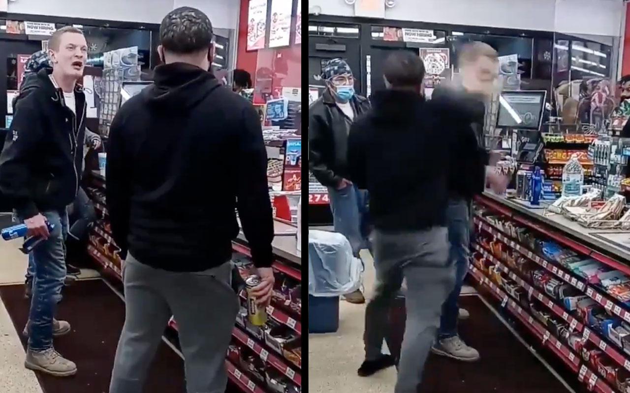 Irkçının yüzüne teneke içecek kutusuyla vurdu, sonra da evire çevire dövdü! Sosyal medya yıkılıyor