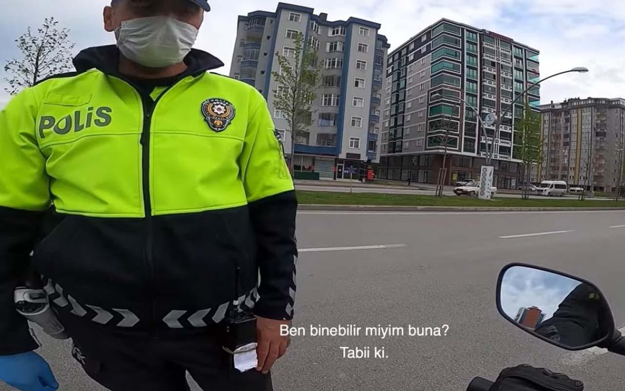 Samsun'da trafik polisi çevirdiği motosikletlinin motoruyla tur attı! Aralarındaki diyalog güldürdü