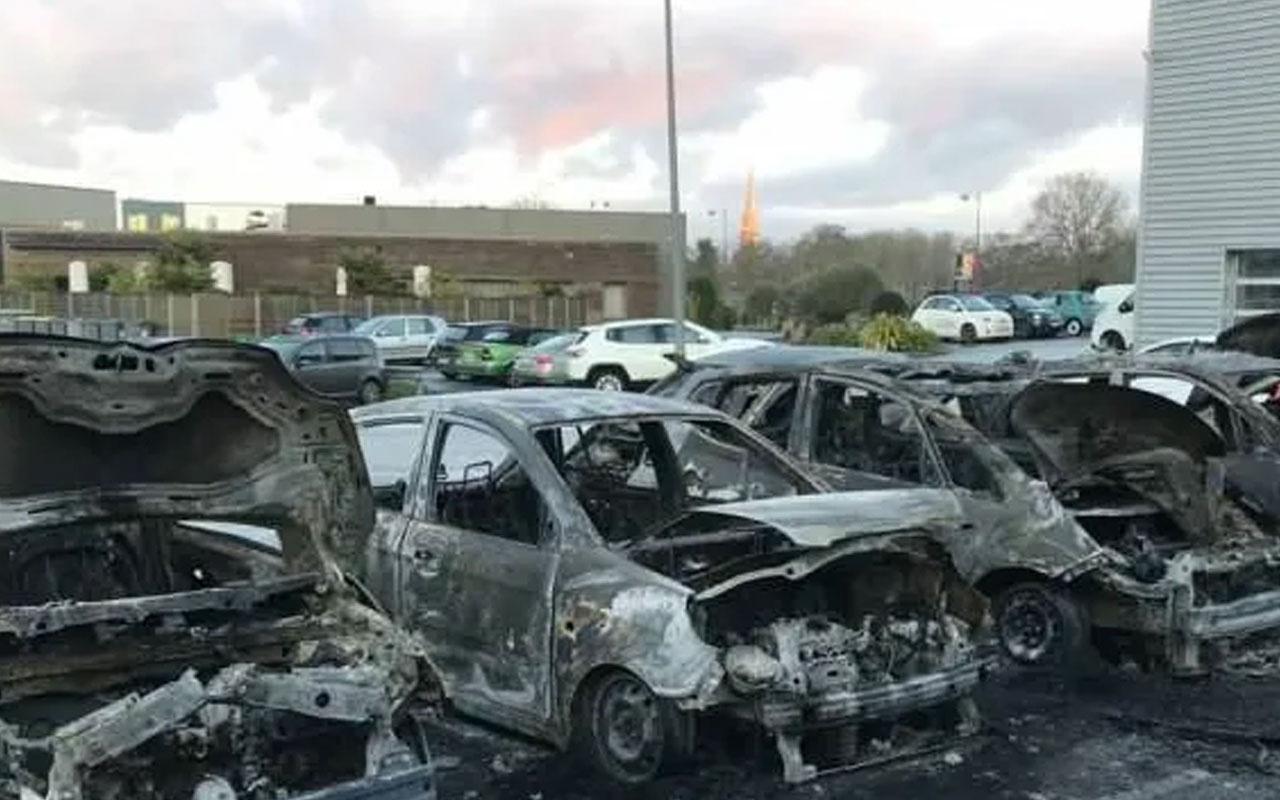 Fransa'da lüks araç bayiinde yangın: 40 araç kül oldu