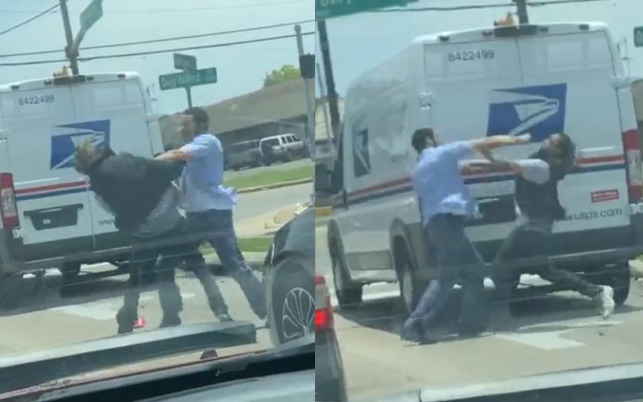 ABD sokaklarında boks maçı gibi görüntüler iki kişinin kavgası kamerada