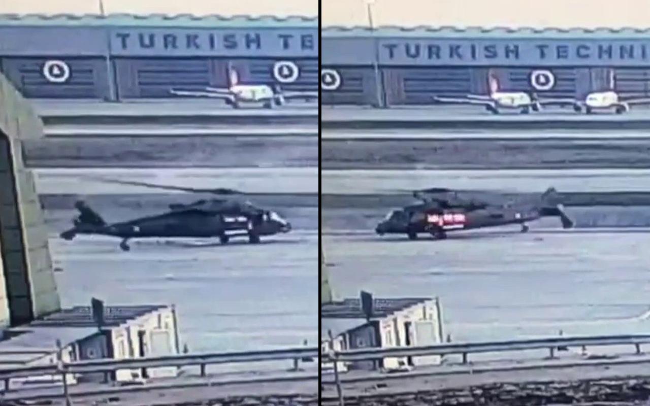 İstanbul'da helikopter yakıt ikmali sırasında direğe çarptı! Korku dolu anlar kamerada