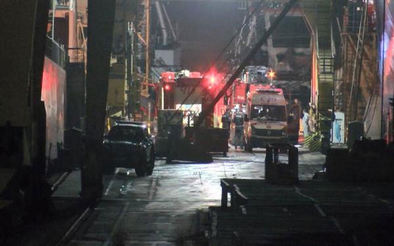 Tuzla'da tersanede bakımda olan gemide yangın: 1 işçi yaralı