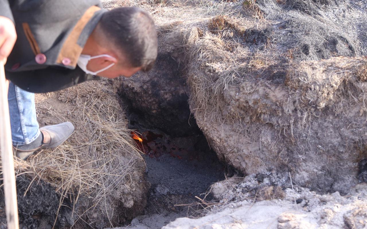 Konya Karapınar'da mahalleli tedirgin! Yanan toprak korkuttu