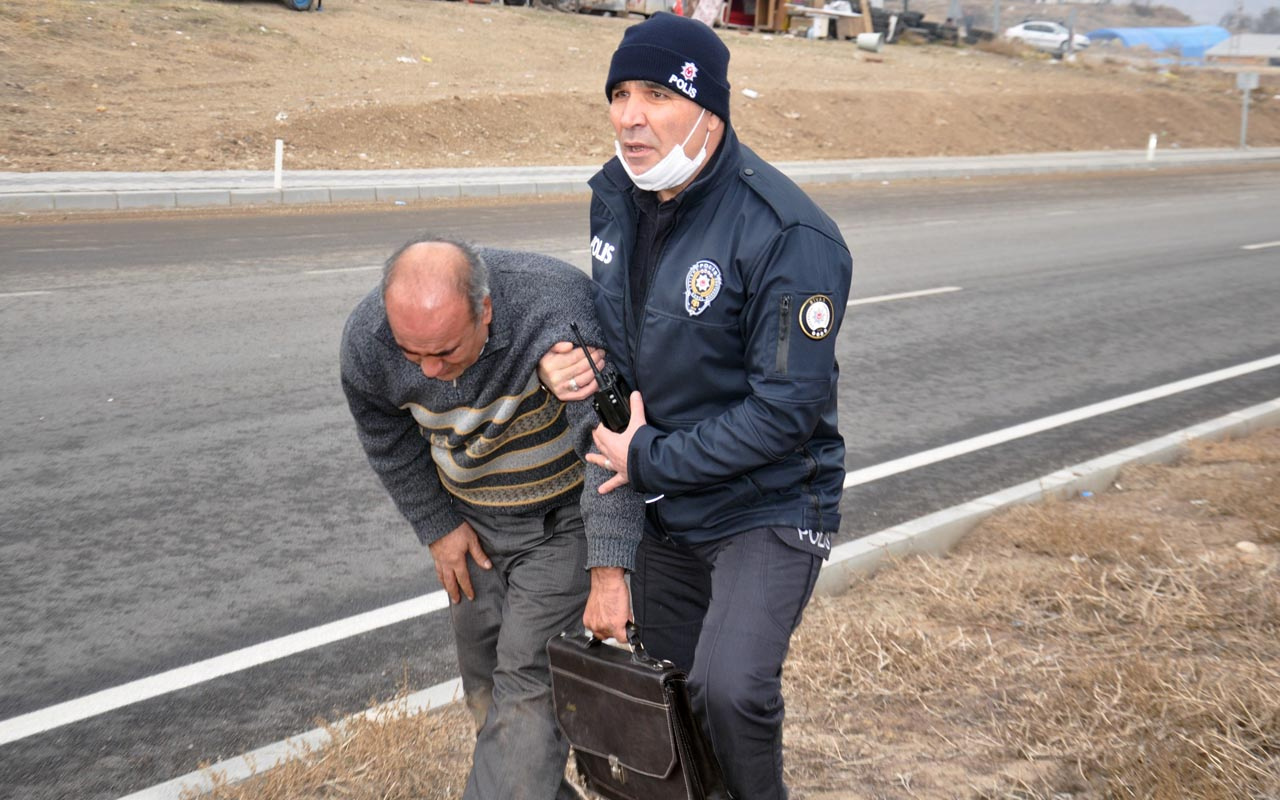Sivas'taki kazada korkutan yangın: Şoför yanan aracını gözyaşlarıyla izledi