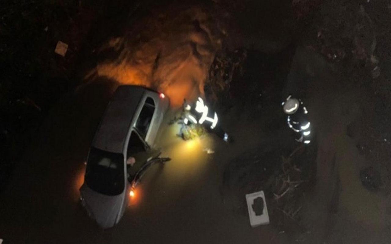 Tekirdağ'da feci kaza! Otomobil ile uçtuğu derede telefonla yardım istedi