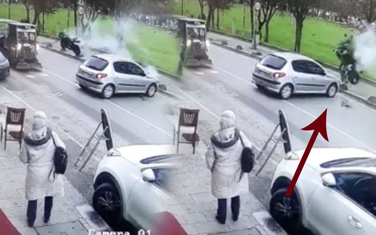 Beykoz'da feci motosiklet kazası kamerada
