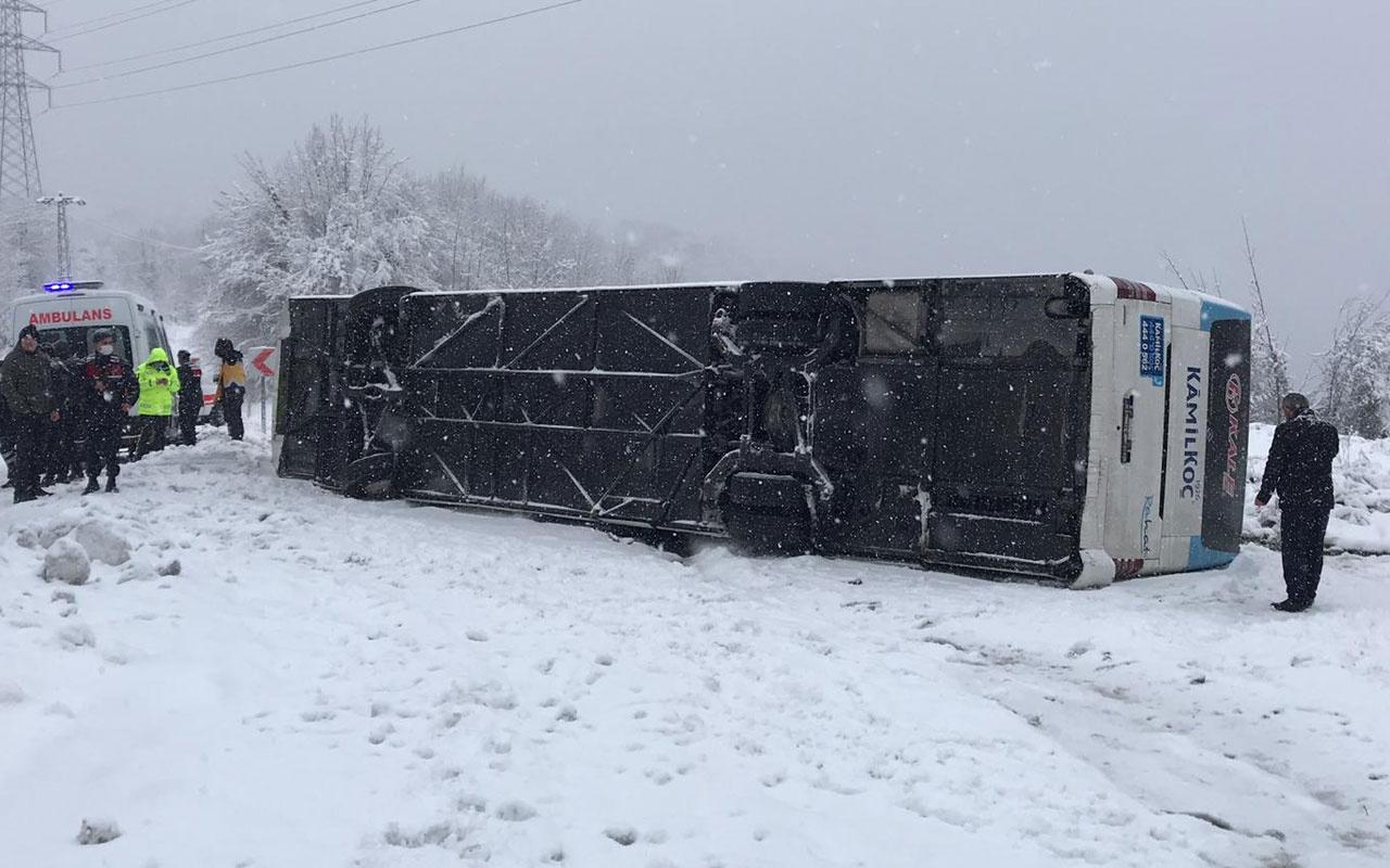 Zonguldak-İstanbul karayolunda yolcu otobüsü devrildi! Yaralılar var