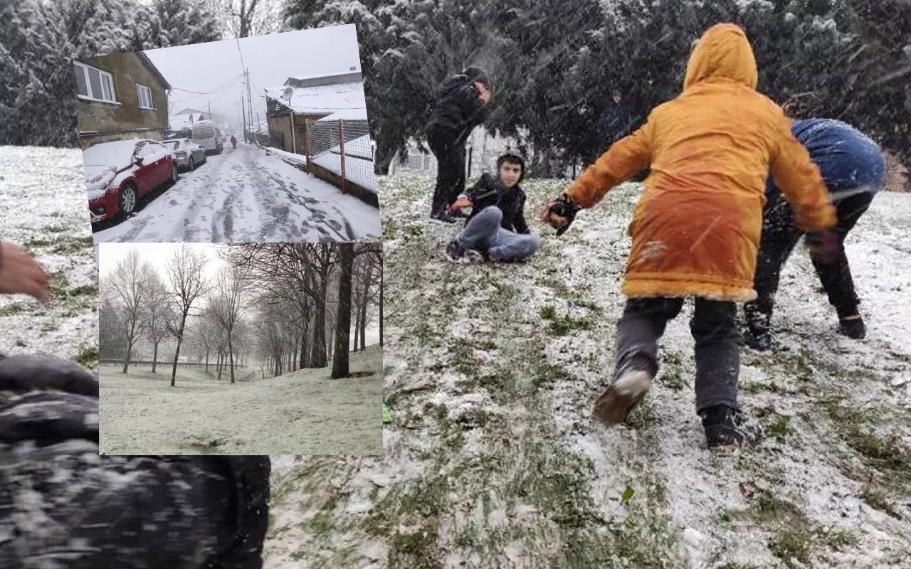 İstanbul beyaz gelinliği giydi! Kar yağışının keyfini çocuklar çıkardı
