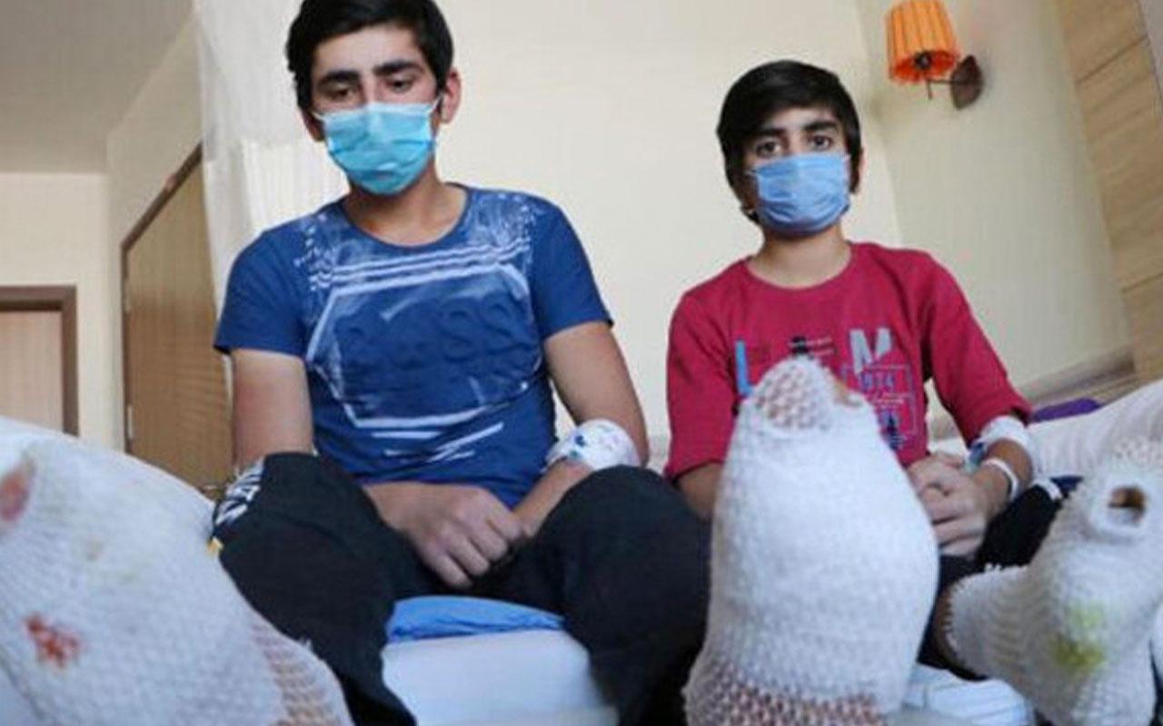 Erzincan'da yüksek gerilim hattına kapılan 2 çocuğun ayak tabanları patladı!