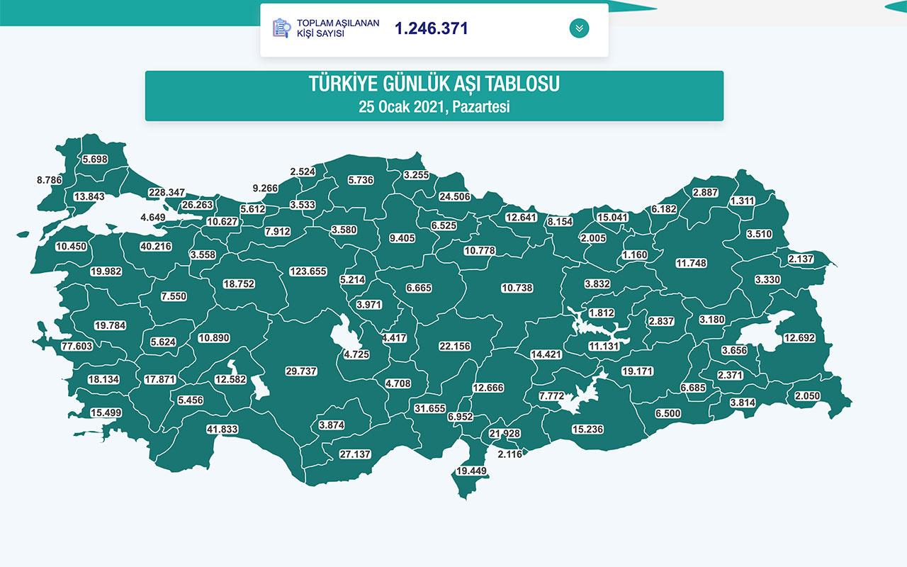 Türkiye'nin aşı haritası erişime açıldı! Hangi şehirde kaç kişi aşı oldu canlı yayın