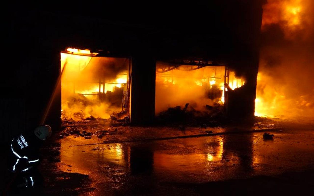 Samsun'da sanayi sitesinde iş yerleri alev alev yandı
