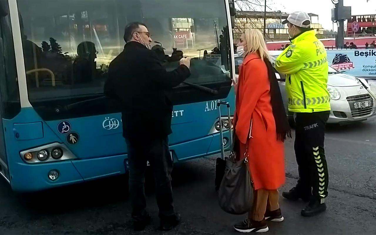 İstanbul Beşiktaş'ta bir kadın durağa girmediğini iddia ettiği halk otobüsünün önünü kesti