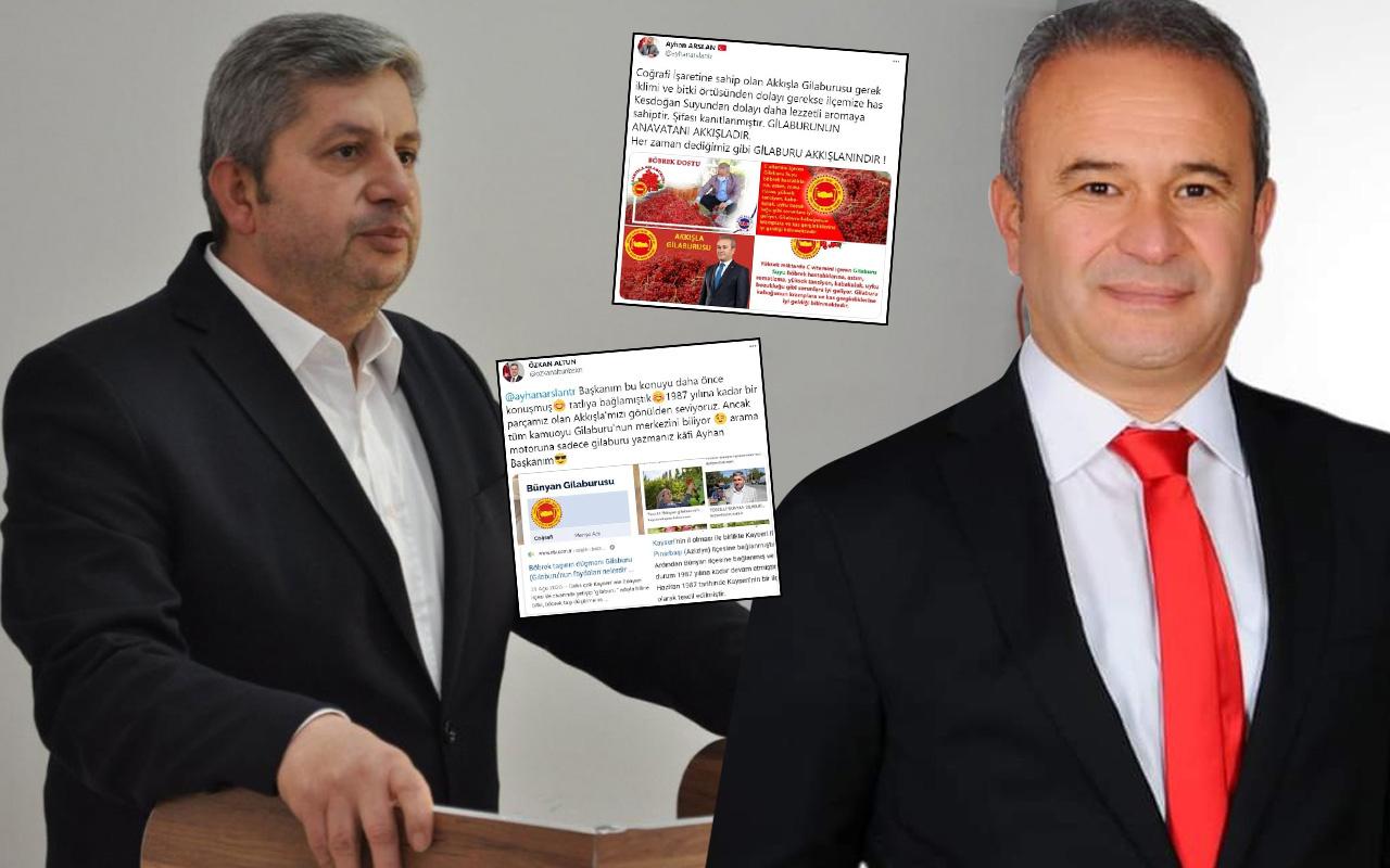 Kayseri'de 'gilaburu' iki başkanı karşı karşıya getirdi! Twitter'dan atıştılar