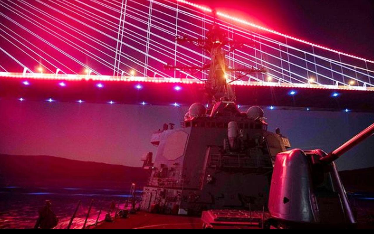 ABD savaş gemisi İstanbul Boğazı'ndan geçerken tuhaf paylaşım: Biz kırmızı ışıkta durmayız