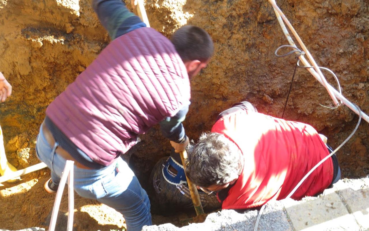 Ümraniye'de kanalizasyon çalışmasında toprak altında kalan işçi kurtarıldı