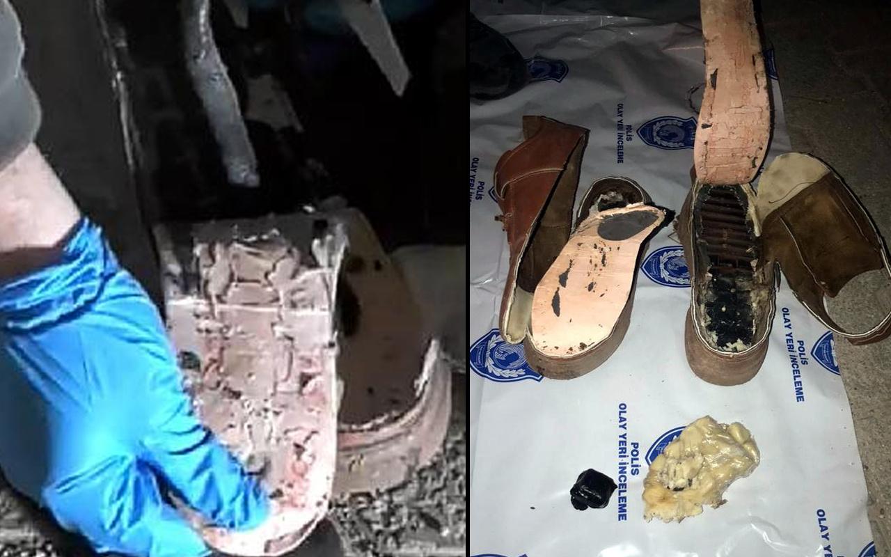 Mardin'de ayakkabının içinden çıkanlar pes dedirtti! Tabanına saklamış