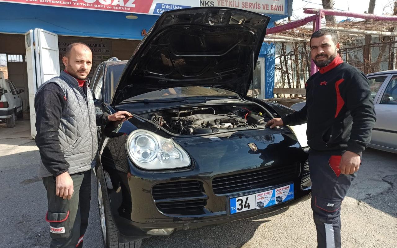Siirt'te lüks Porsche cipe LPG takıldı