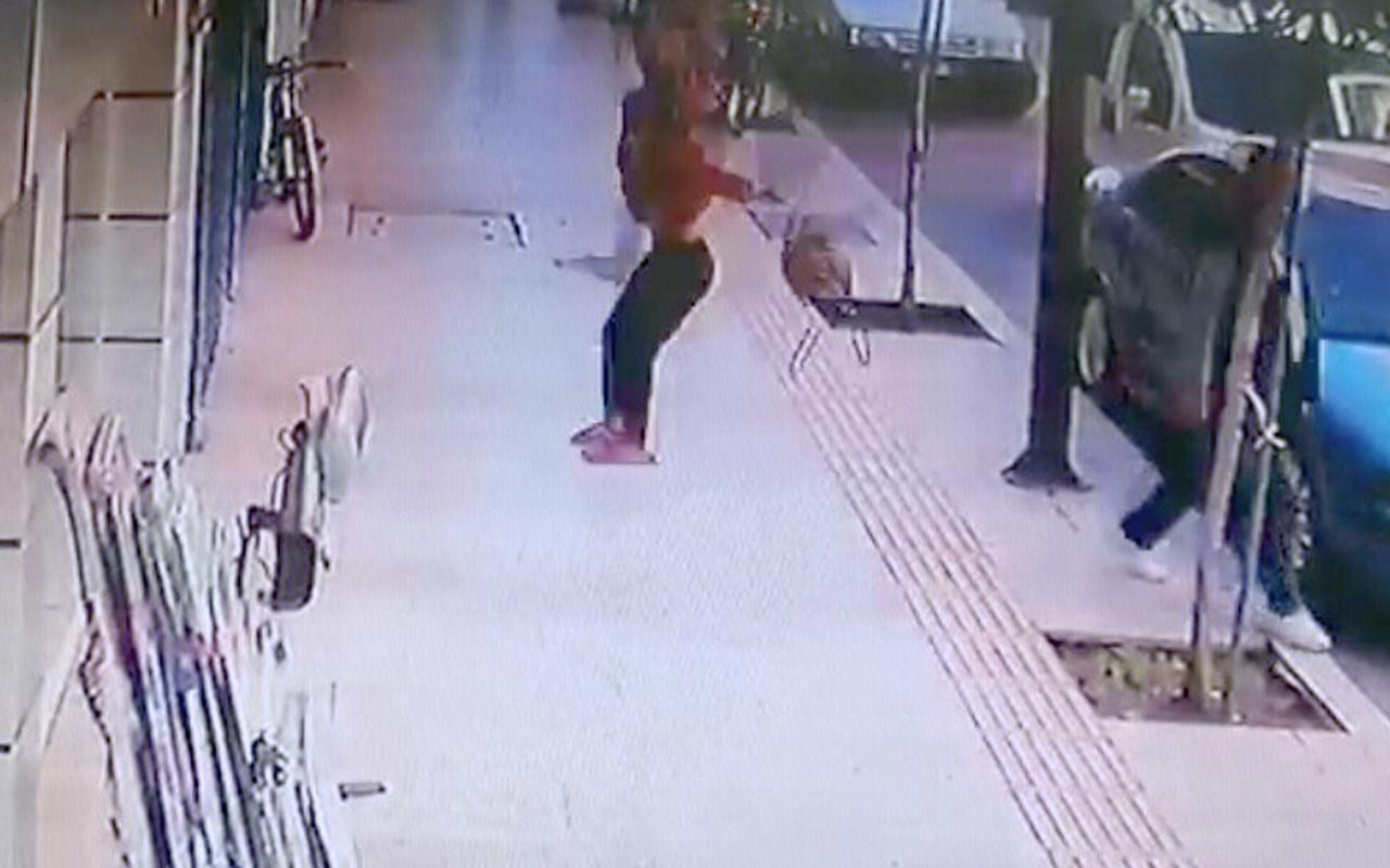 Antalya'da balkondan düşen kadın kamerada