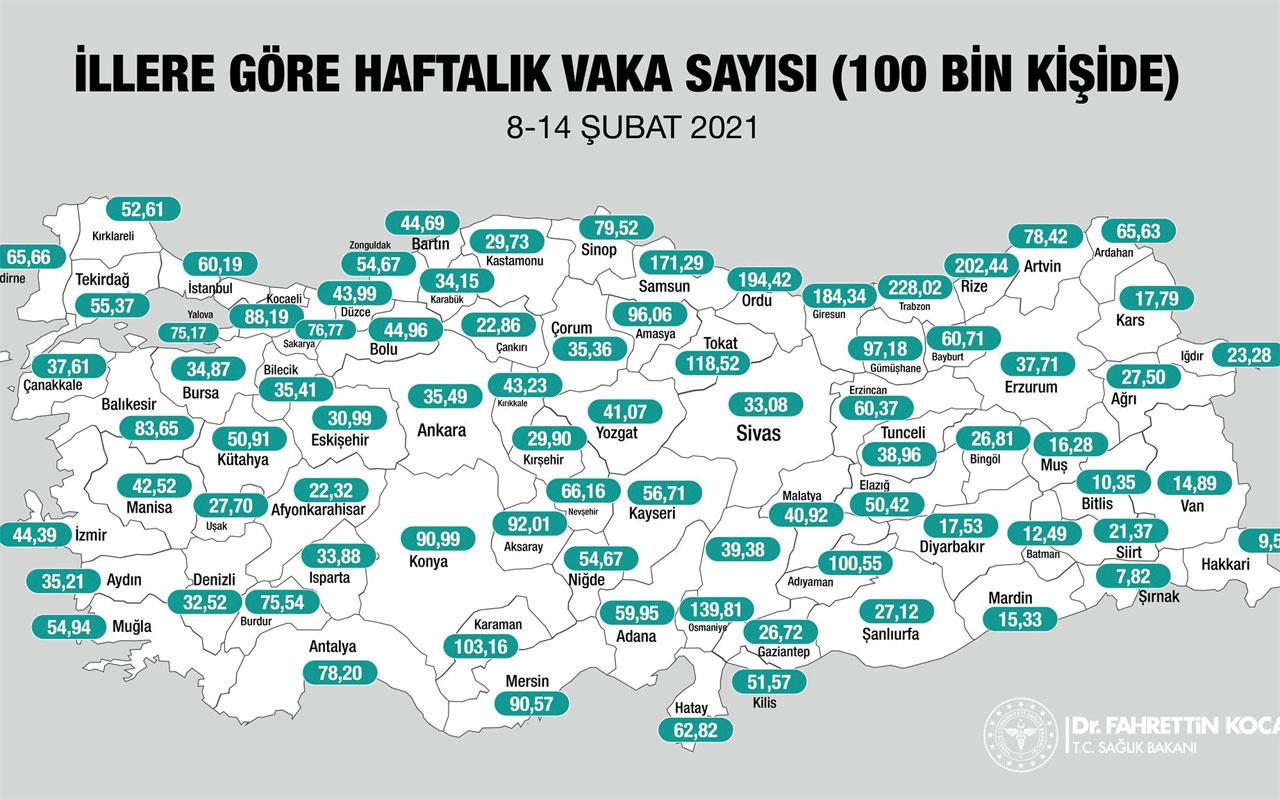 Türkiye'de illere göre koronavirüs vaka sayılarını gösteren harita