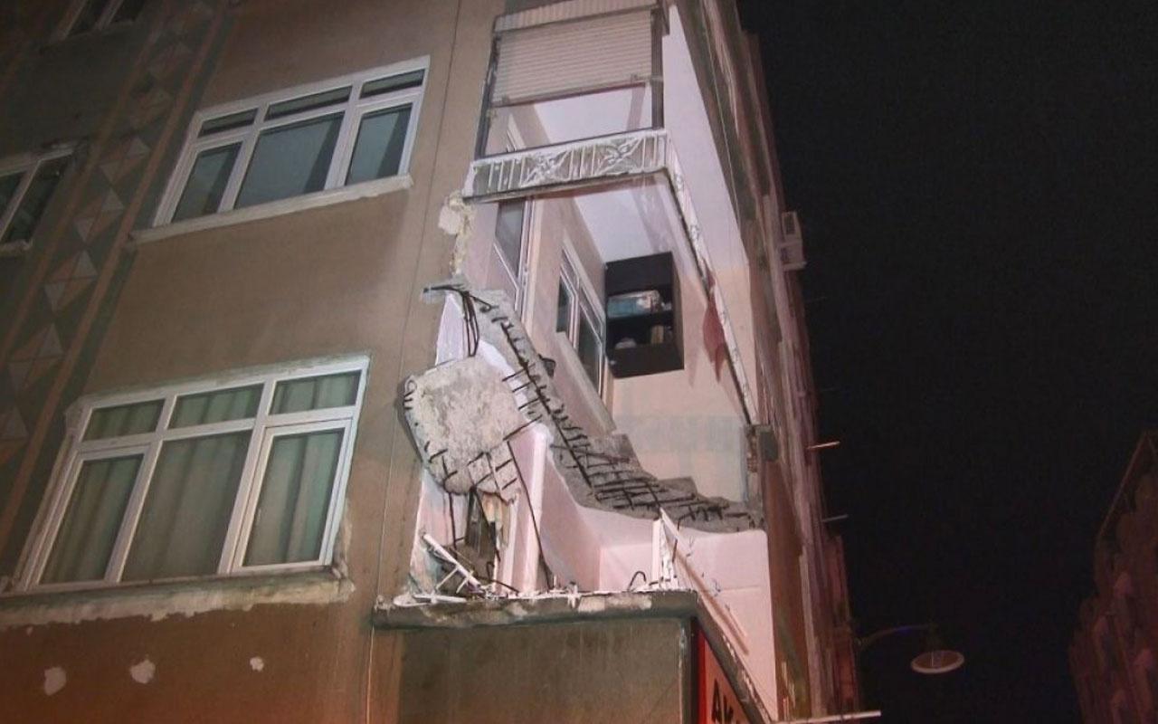 İstanbul'da Zeytinburnu'nda bir binanın balkonu çöktü