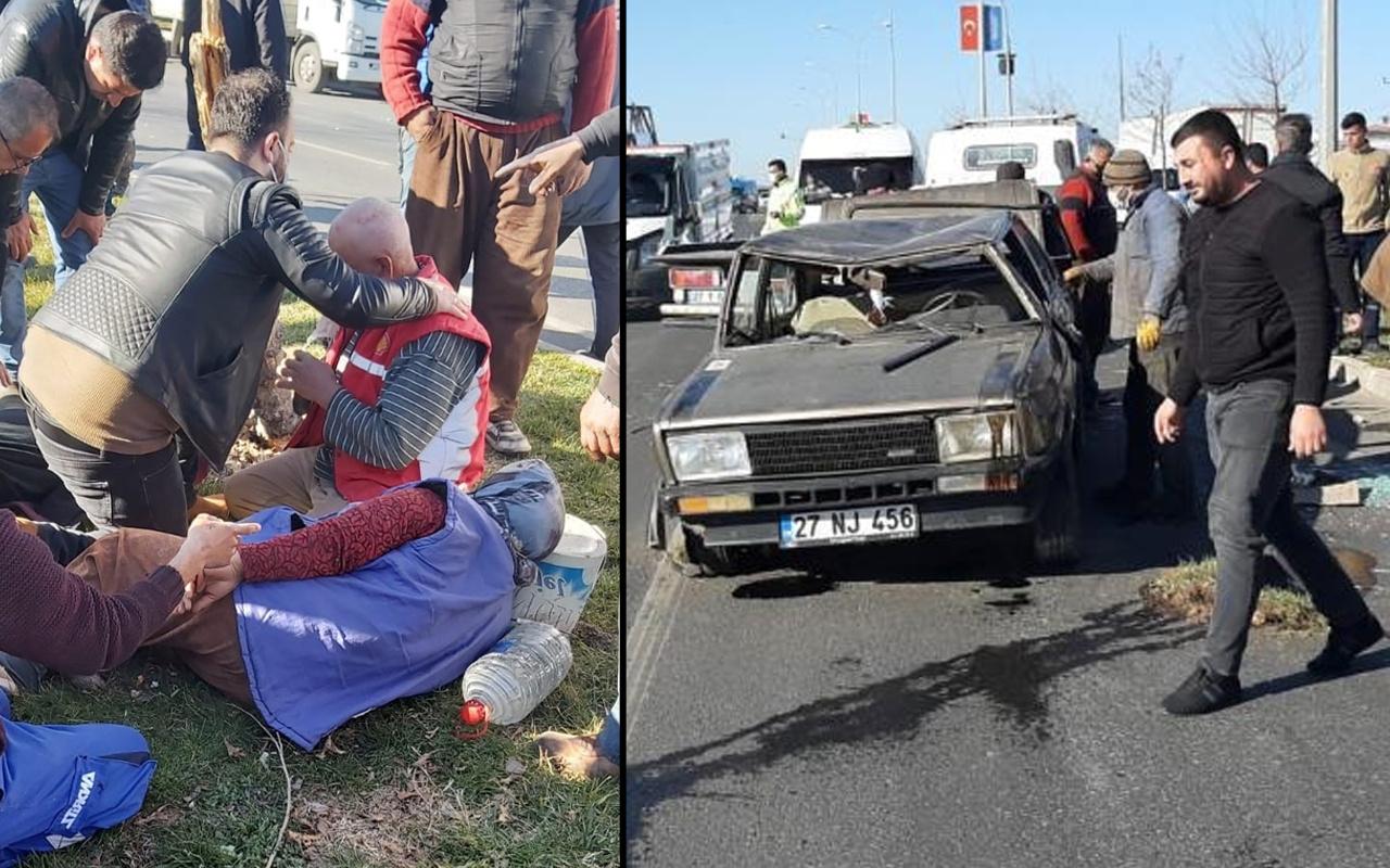 Gaziantep'te feci kaza! TIR çarpınca taklalar attı: Yaralılar var