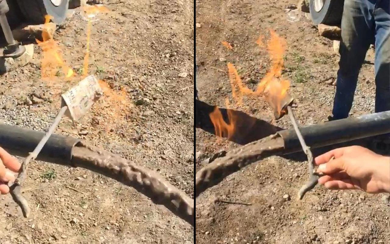 Adıyaman'da kuyudan çıkan suyla şaşkına döndüler! Alev alev yandı