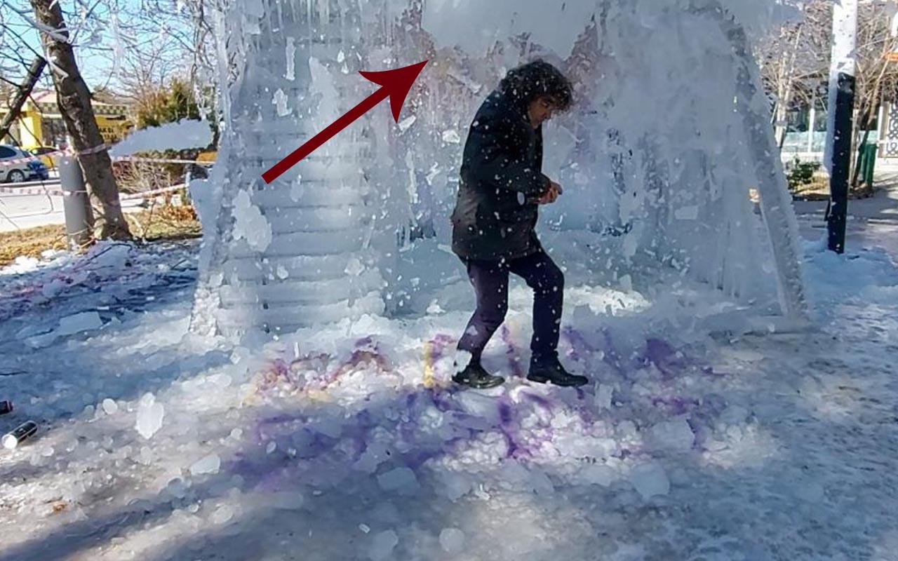 Erzincan'da üzerine buz kütlesi düşen profesör ölümden döndü