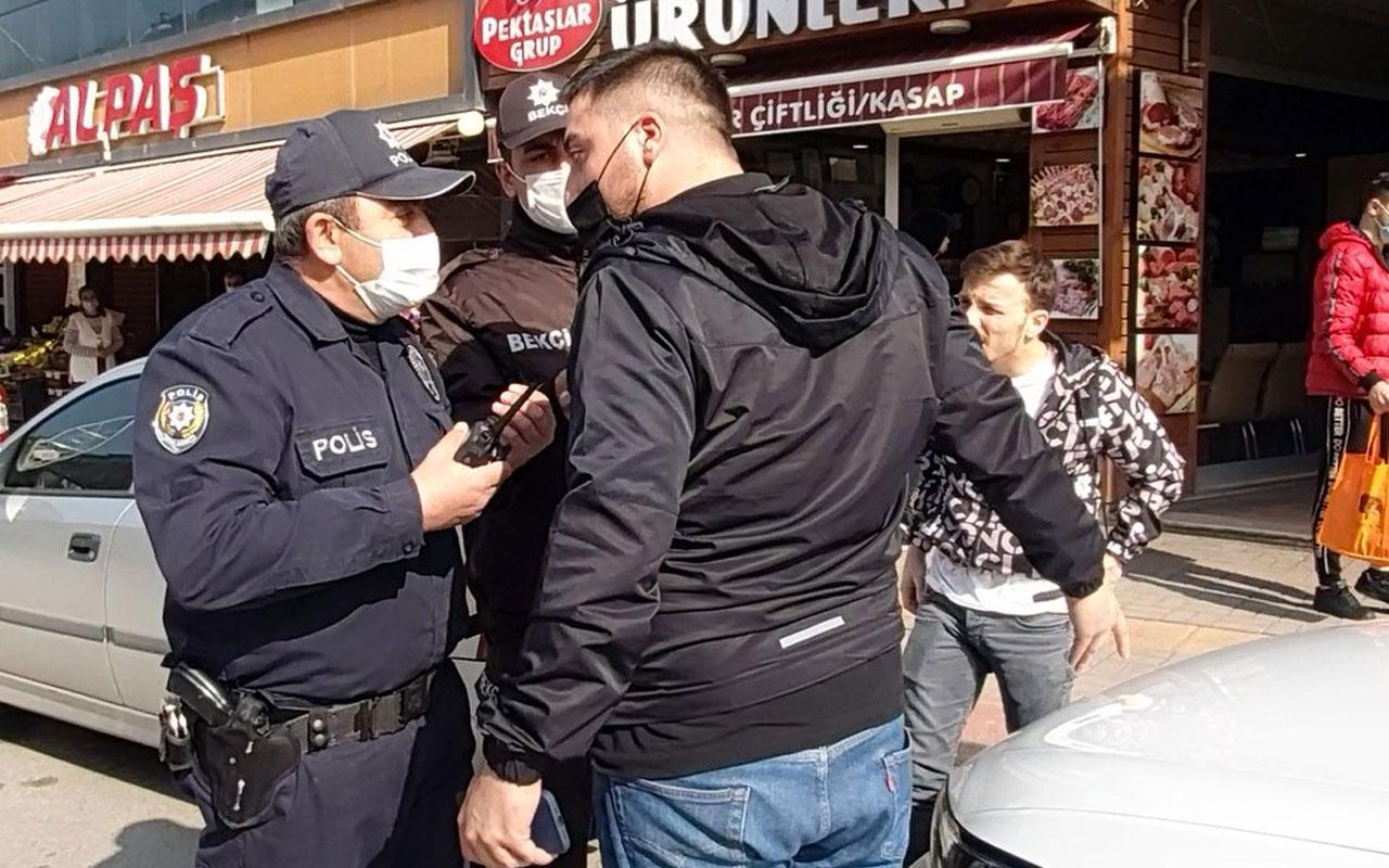Kısıtlamaya uymadı ceza yiyince polisin üzerine yürüdü
