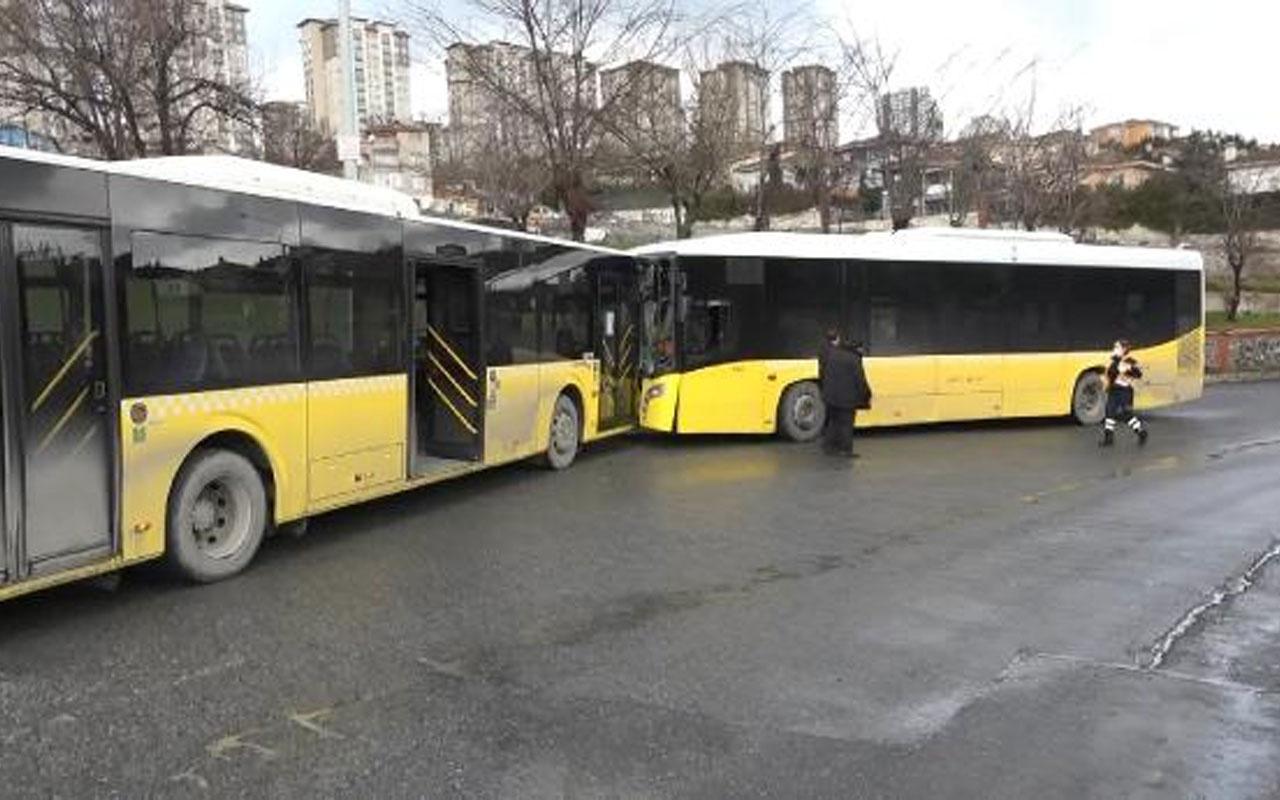 Facianın eşiğinden dönüldü! Başakşehir'de İETT otobüsleri kafa kafaya çarpıştı