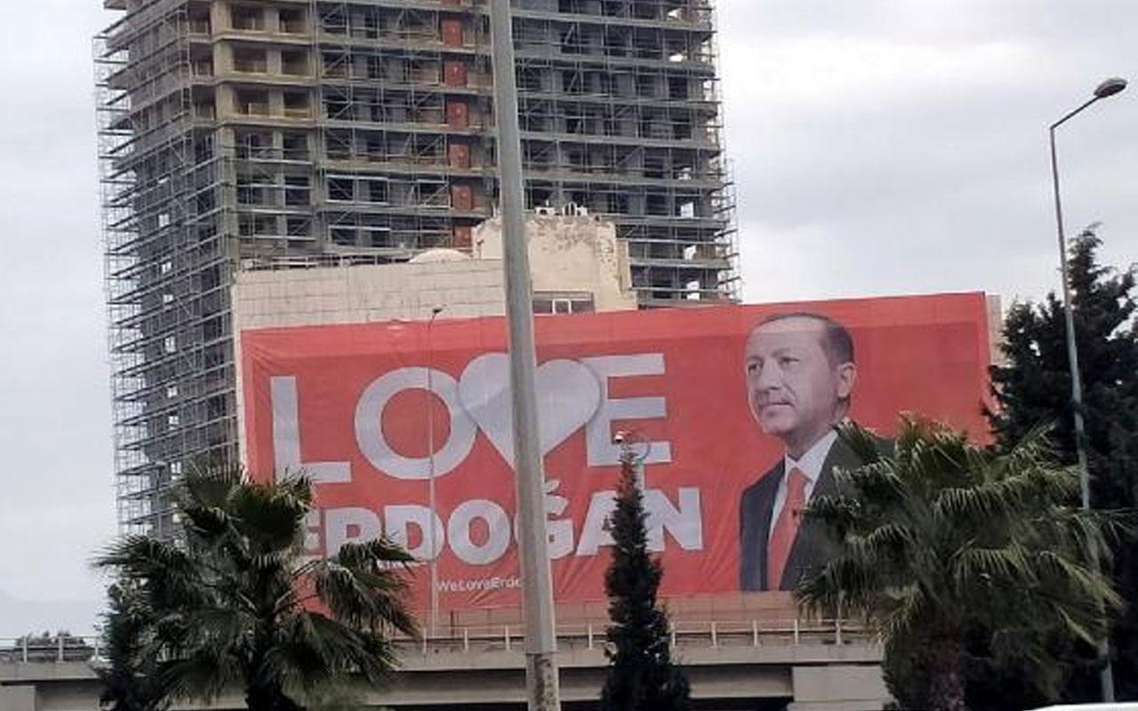 Büyük destek! İzmir'in ilçelerine 'Love Erdoğan' afişi asıldı
