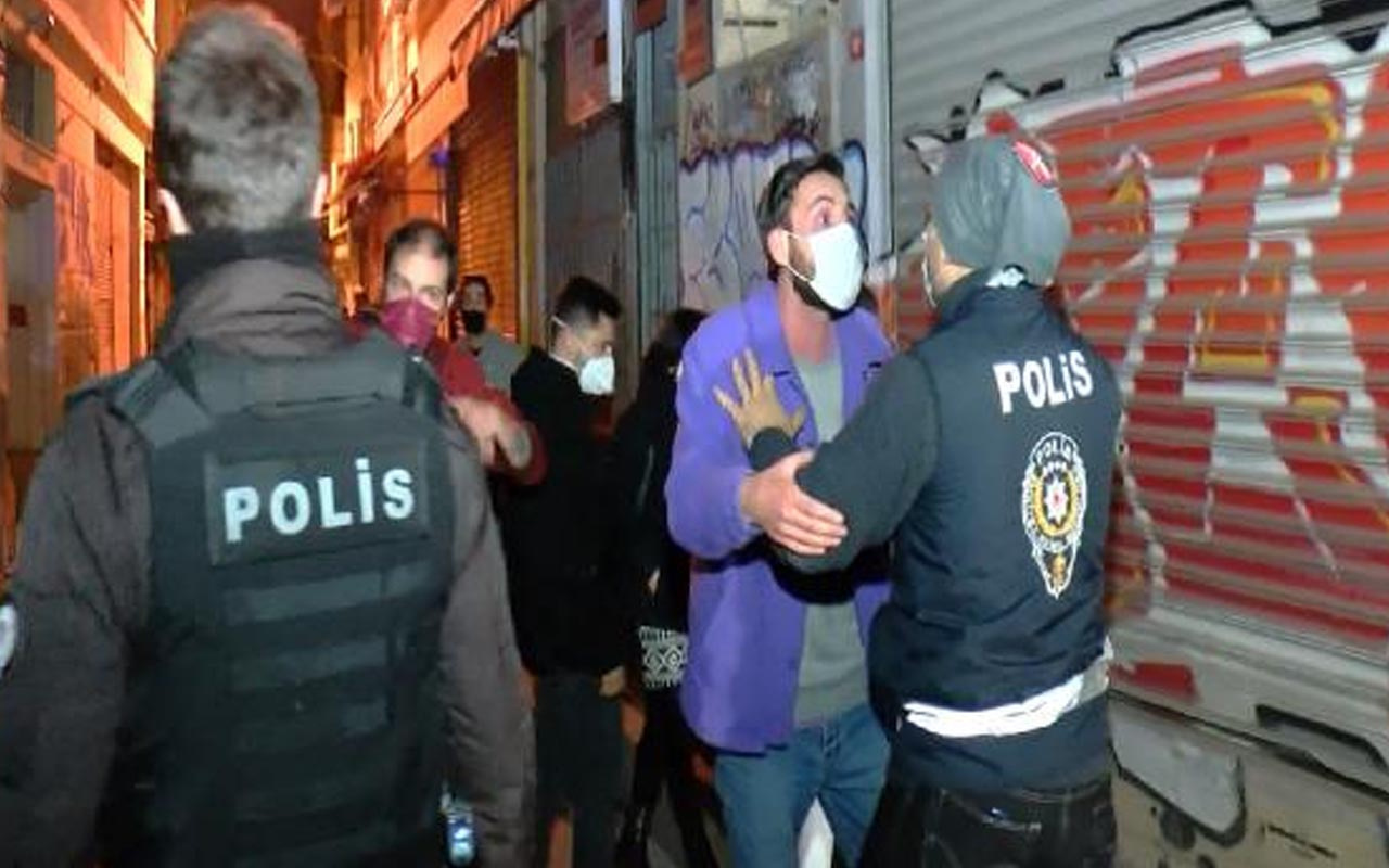 Beyoğlu'nda eğlence mekanına Covid-19 baskınında arbede: Müşteriler bekçilere saldırdı