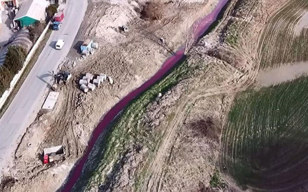 """Arnavutköy'deki """"kırmızı dere""""de ilk tespit! """"Yağmur suyu kanalıyla boşaltılmış"""""""