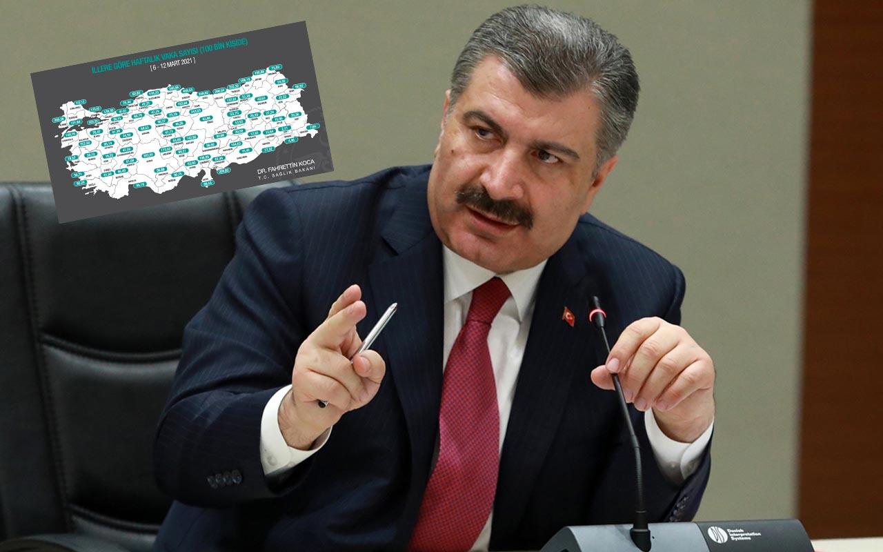 İllere göre haftalık Covid-19 vaka sayısı! Sağlık Bakanı Fahrettin Koca paylaştı
