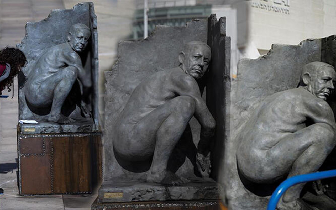 Gören şok oldu! İsrail'de Başbakan Netanyahu'nun 'çıplak heykel'ini diktiler