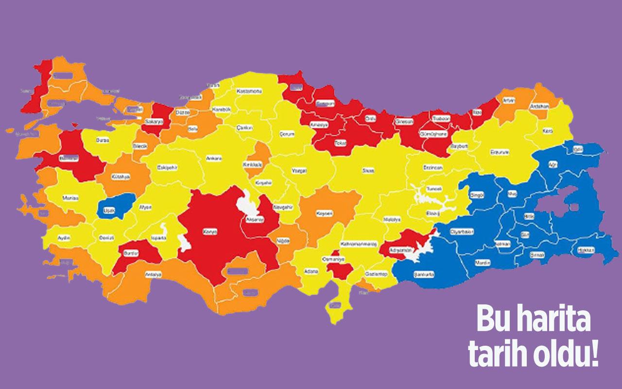 Batıdaki tek 'mavi' şehir Uşak'ta vakalar fırladı sadece 3 'mavi' şehir kaldı! İşte il il son durum