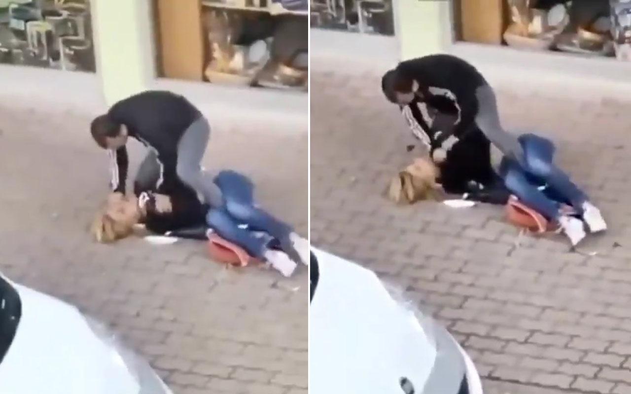 Antalya'da sokakta kadına şiddet anı kameraya yansıdı
