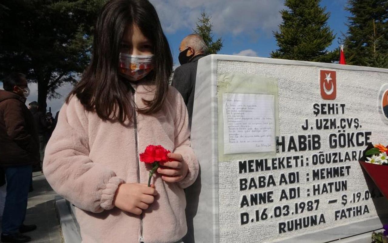 Çorum'da 6 yaşındaki Mirayşah'ın şehit babasının mezarına astığı mektup yürek burktu