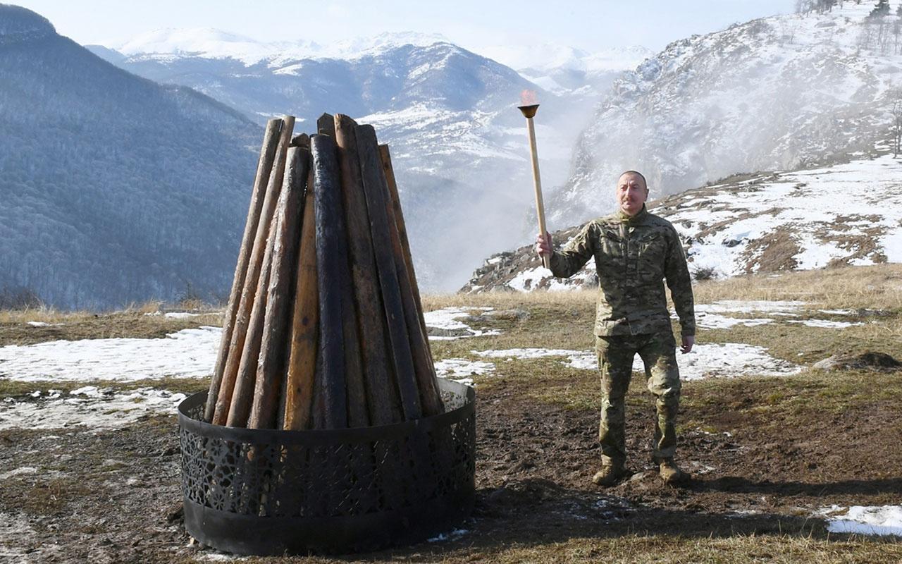 Azerbaycan Cumhurbaşkanı Aliyev Nevruz ateşini işgalden kurtarılan Şuşa'da yaktı