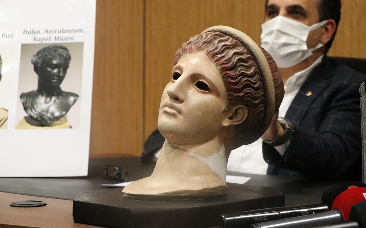Bolu Müzesi'ndeki 2 bin yıllık boyalı kadın başı heykelinin Artemis olduğu anlaşıldı